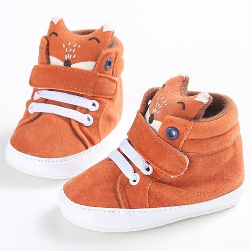 Orange Baby Shoes Stylish Fox High Top, (baby sizes)