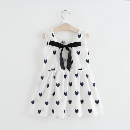 Baby Kid Girl Heart-Shaped Wave Point White Black Dress, (2T-6)