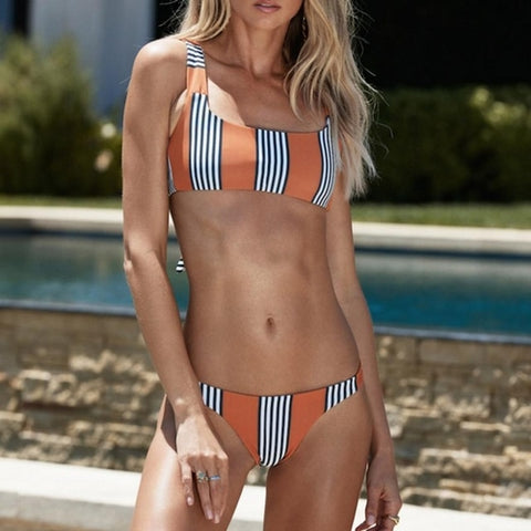 Women Bikini Striped Sexy Sport, (S-XL)