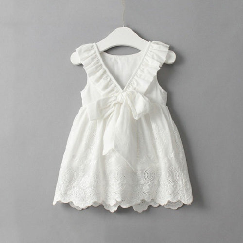 Delicate White Dress For Girls Toddler, (2T-7T)