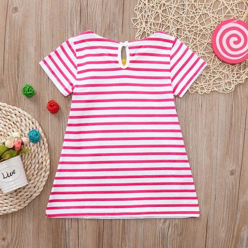 Cute Baby Girls Stereoscopic Cartoon Striped Dress, (24m-6T)