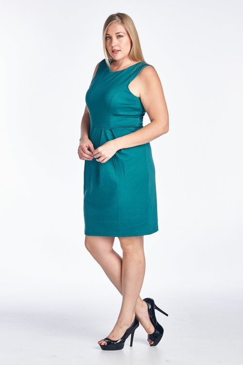Women's Plus Size Ponte Sheath Dress Jade, (2X-4X)