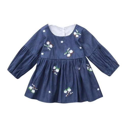 Baby Kid Girl Embroidery Flower Dress Blue, (12m-3T)