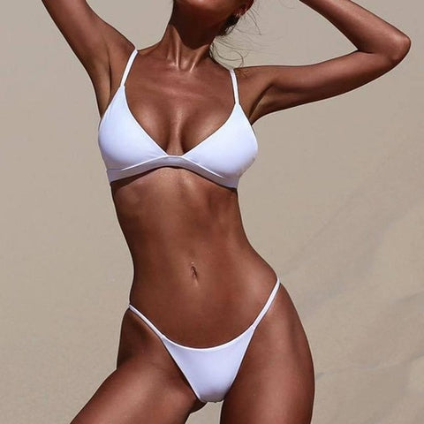 Fantastic White Red Trim Solid Sport Bikini Set, (S,M,L)
