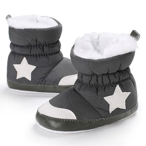 Baby Black Soft Booties Snow, (baby sizes)