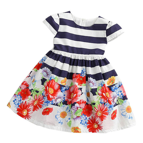 Flower Stripe Dress Girls, (2T-7)