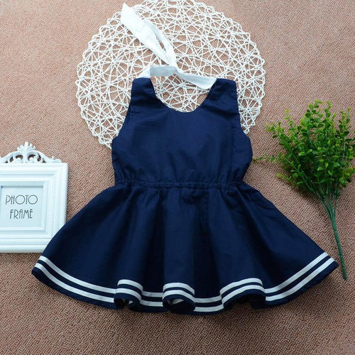 Summer Blue White stripe dress, (12m-5T)