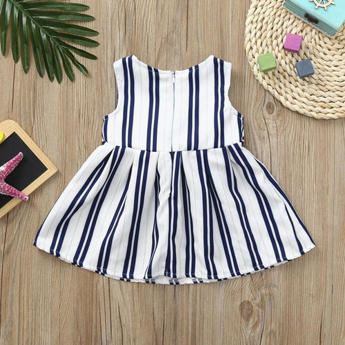 Girls Baby Summer Dress Blue Striped, (12m-4T)