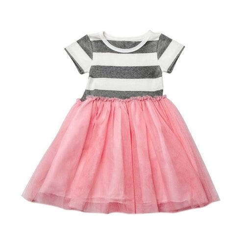 Girls Short Sleeve Striped Dress Grey Pink, (2T-6)