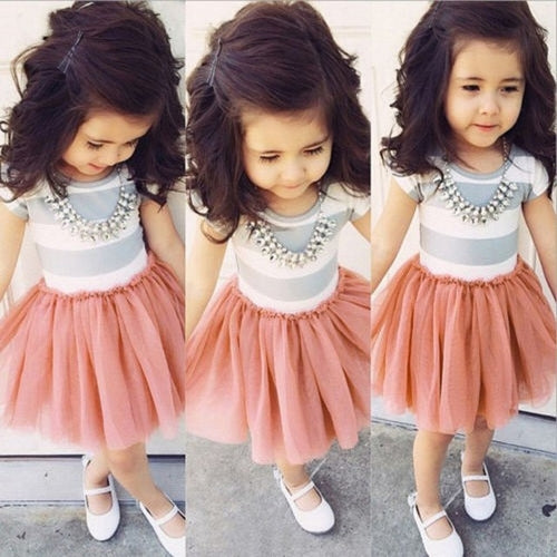 Girls Short Sleeve Striped Dress Fashion Bow