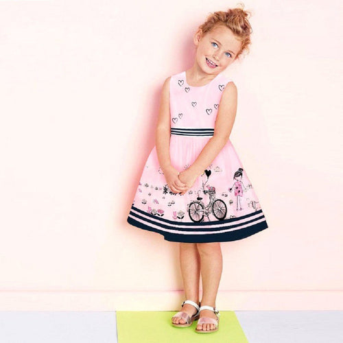 Girls Stripe Belt Print Dress Fashion, (2T-7)