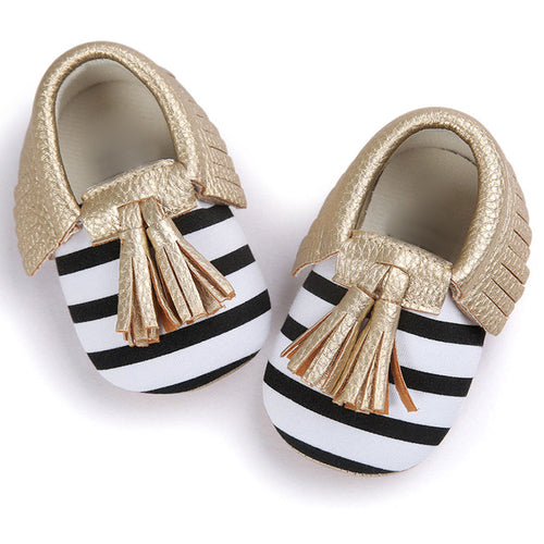 Infant Shoes Striped Slip On Metal Color Tassel (baby sizes)