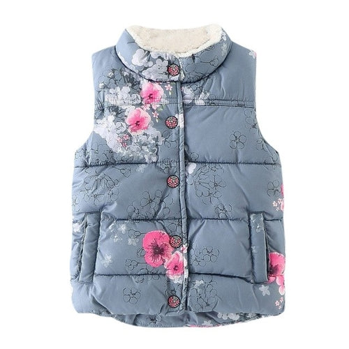Kid Warm Floral Vest Jacket, (2T-6)