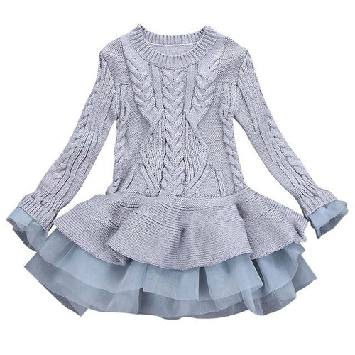 Girls Knitted Winter Pullover Dress Blue, (3T-7)