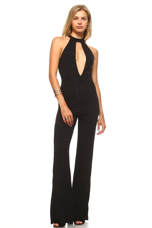 Women's Deep Key Hole Bell Bottom Jumpsuit Black, (S,M,L)