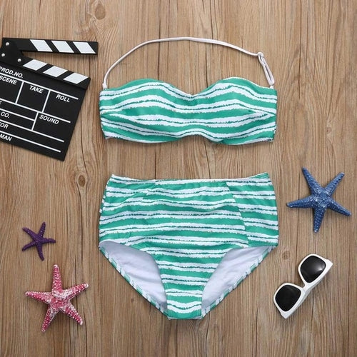 NEW Blue Striped Print Bikini Set, (S-XL)
