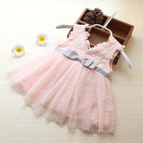 Fashion Bowknot Girls Lace Princess Dress Pink, (6m-3T)