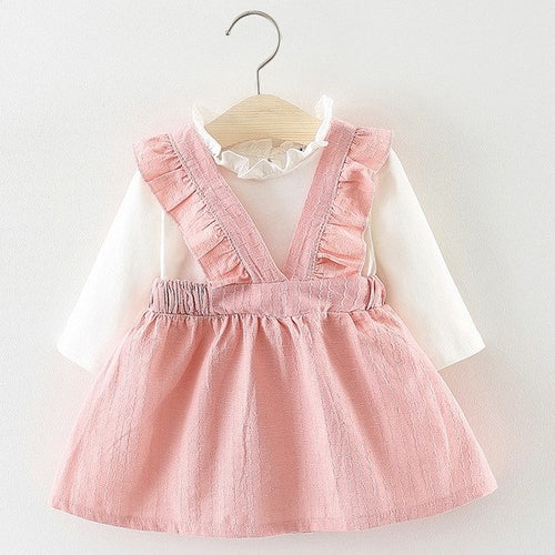 Fashion Pink White Ruffle Trim Girls Dress, (6m-24m)