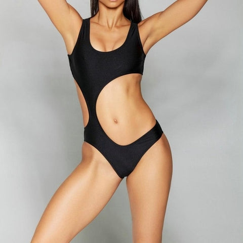 Alluring One Piece Hollow Out Swimsuit Push-Up Black Multi Trim, (S,M,L)