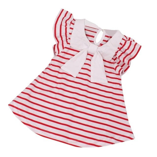 New Dress Red Stripe Toddler Baby Girls, (6m-3T)