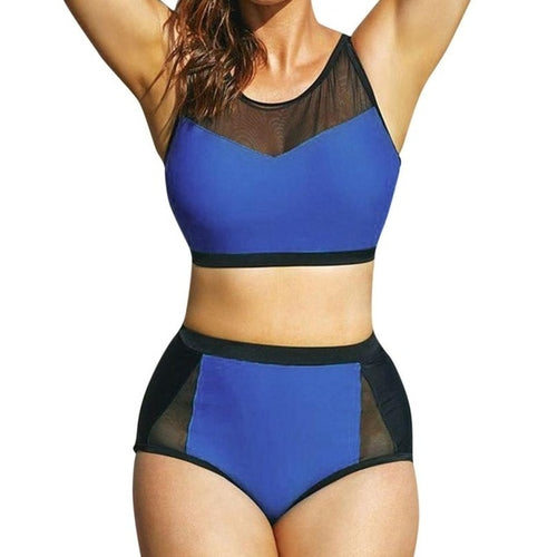 Women's Plus Size Black Blue Swimwear, (XL)