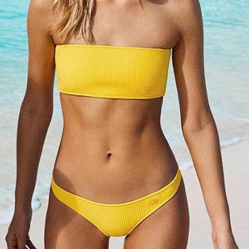 Sexy Yellow Off Shoulder Push-Up Bikini, (S,M,L)