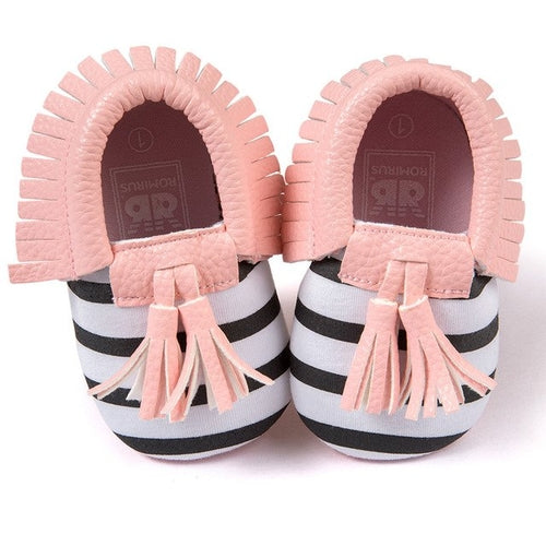 Slip On Shoes Baby Tassels Pink Striped, (baby sizes)