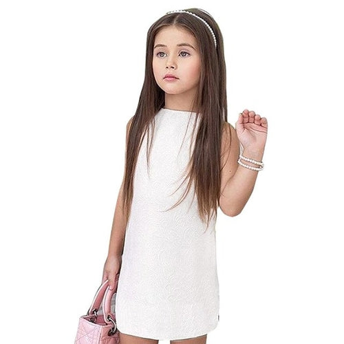 Summer Girl Solid Color Jacquard Dress, (2T-5T)