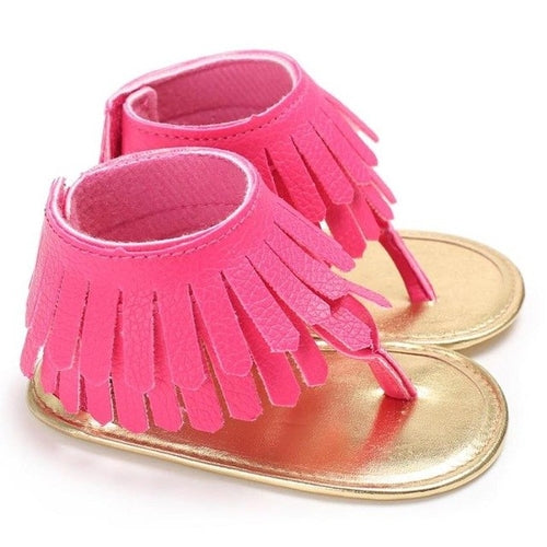 Toddler Summer Sandals Fringe Pink, (baby sizes)