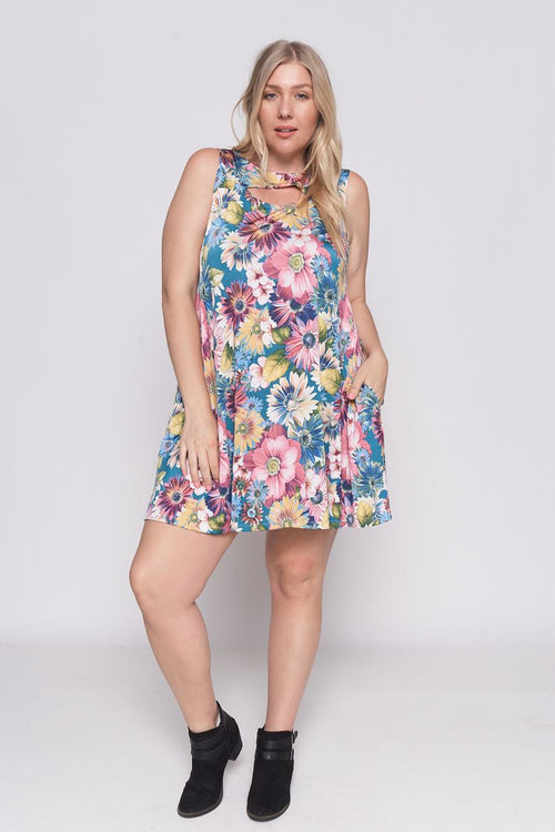 Floral Sleeveless Cutout Neckline Plus Size Mini Dress, (1X-2X)