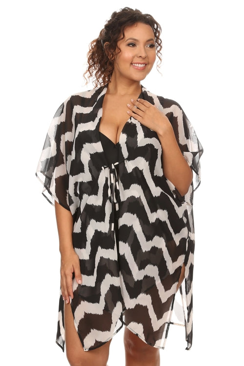 Plus Size Women's Front Tie Beach Dress Cover Up, (1X-3X)