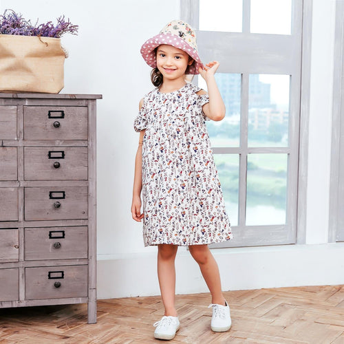 Girl's Floral-Print cold-shoulder Dress, (1-12y)