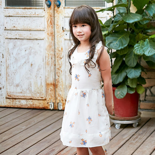 Girl's Floral-print ruffled hem fit-n-flare dress, (1-12y)
