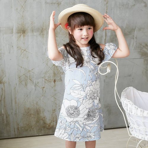 Cotton-Cold-Shoulder Blue Dress, (1y-10y)