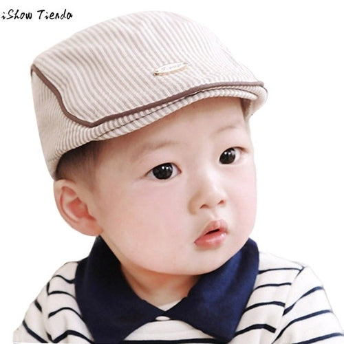 Fashion Hat Striped Button Cute Infant Tan, (baby size)
