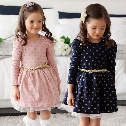 Party Style Girls Blue White Dots Dress, (2T-7)