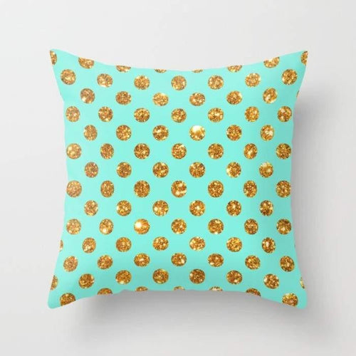 Chic Gold Glitter Polka Dots Pattern Pillowcase