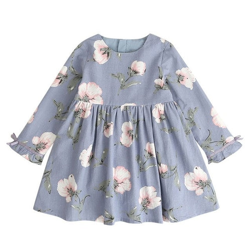 Kid Girl Floral Long Sleeve Dress, (2T-7)