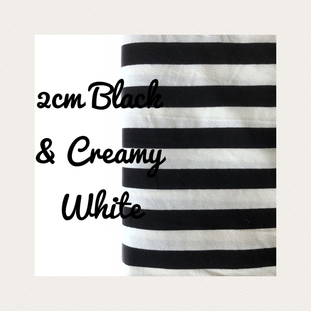 2cm Black & Creamy White Yarn Dyed Stripes - Arriving within weeks