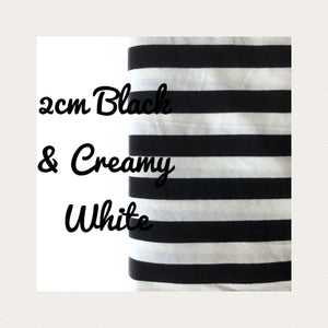 2cm Black & Creamy White Yarn Dyed Stripes