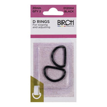 Birch 20mm D Rings - 2 Pack - Multiple Colour Options Available