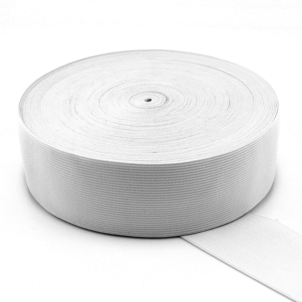 UNI-TRIM 38mm Double Knitted White Elastic