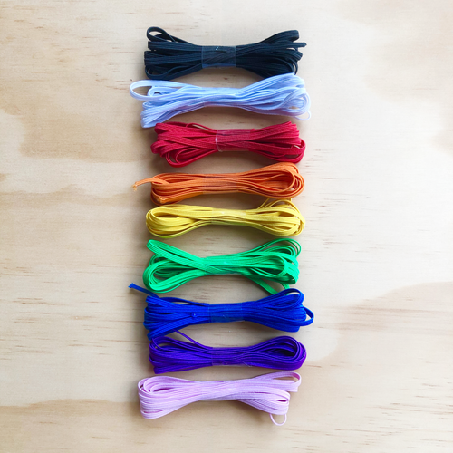 Rainbow Pack 3mm Braided Flat Elastic (9 x 2 Metre Cuts)