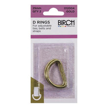 Birch 25mm D Rings - 2 Pack - Multiple Colour Options Available