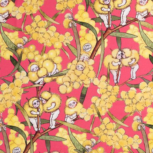 May Gibbs ~ Blossom Babies Bright Coral on Mid-Weight Cotton