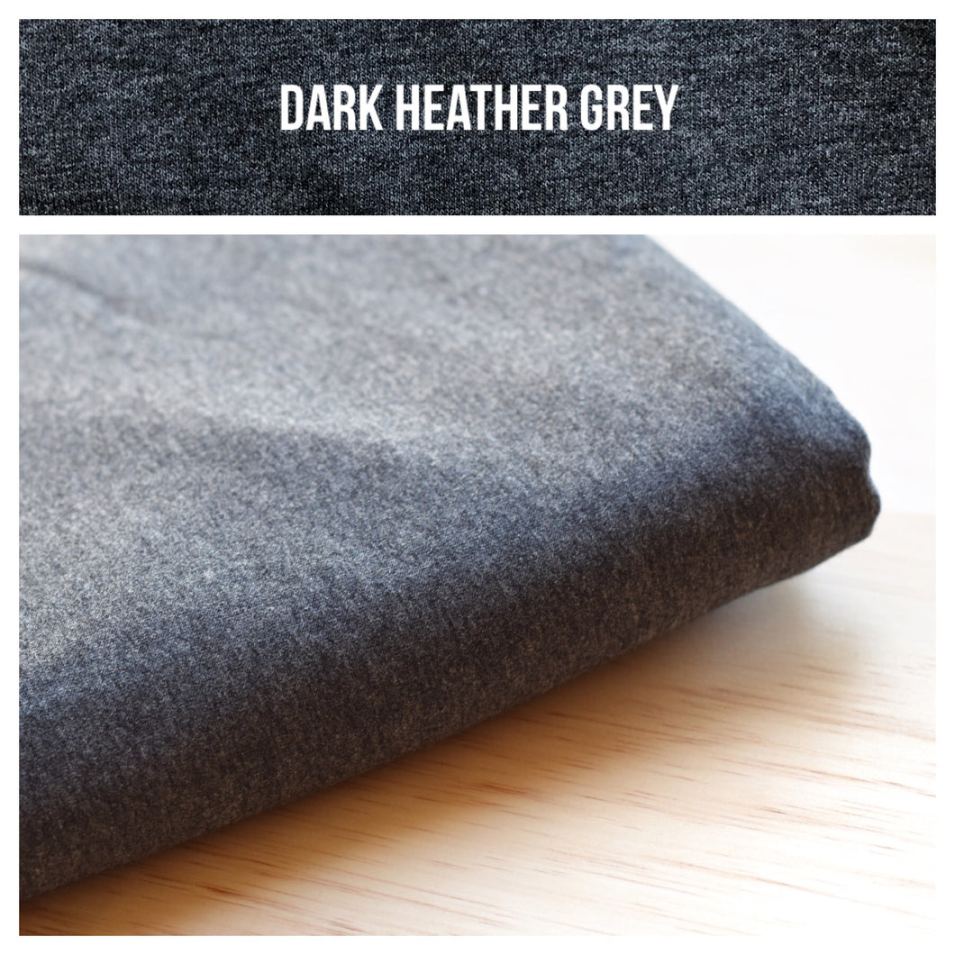 Dark Heather Grey Stretch French Terry 250gsm