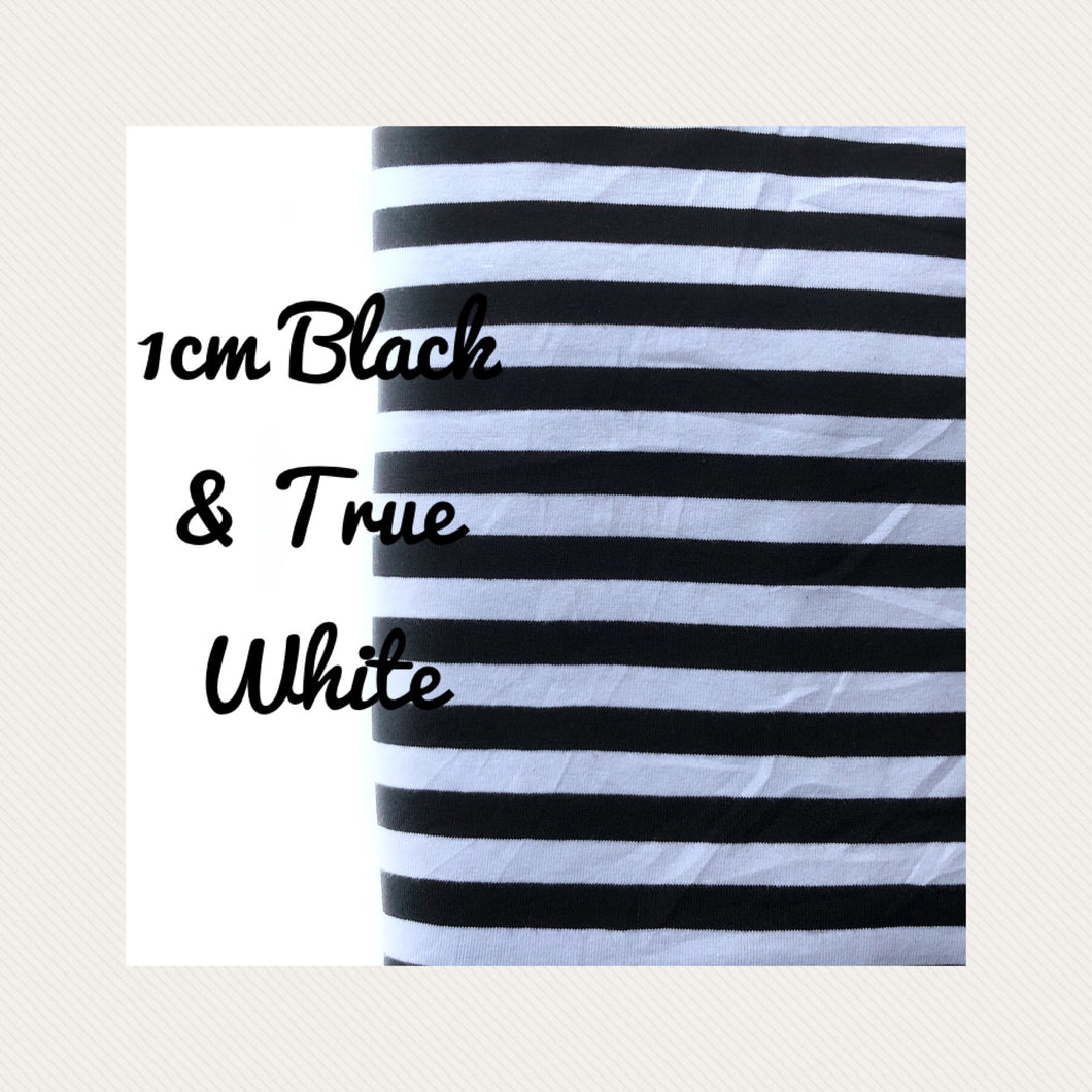 1cm Black & True White Yarn Dyed Stripes