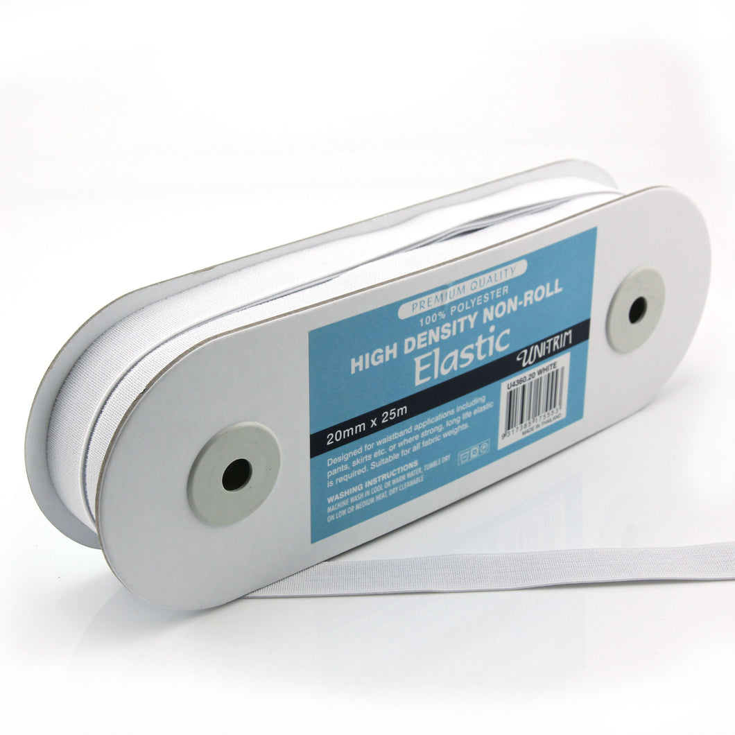 UNI-TRIM 20mm Non-Roll High Density White Elastic