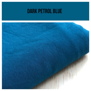 Dark Petrol Blue Stretch French Terry 250gsm