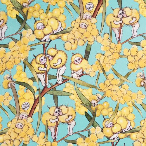 May Gibbs ~ Blossom Babies Bright Mint on Mid-Weight Cotton